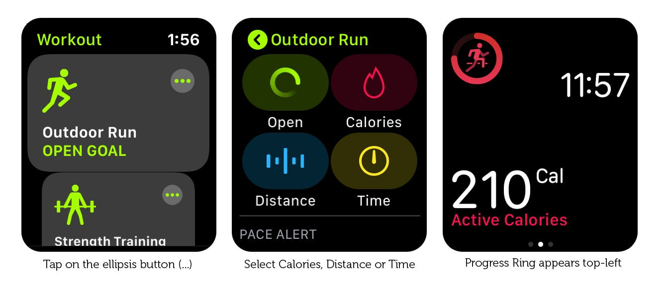 Add a Progress Ring to check your progress on your Apple Watch training.