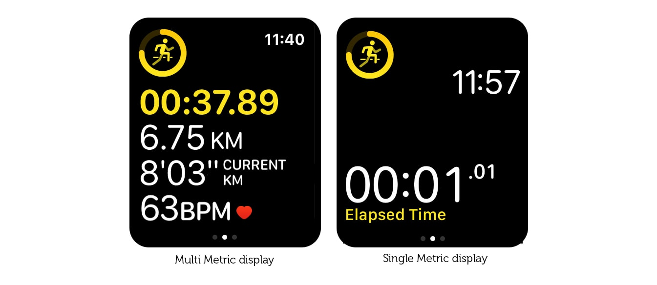 Get rid of clutter on the Apple Watch training screen with Single Metric View