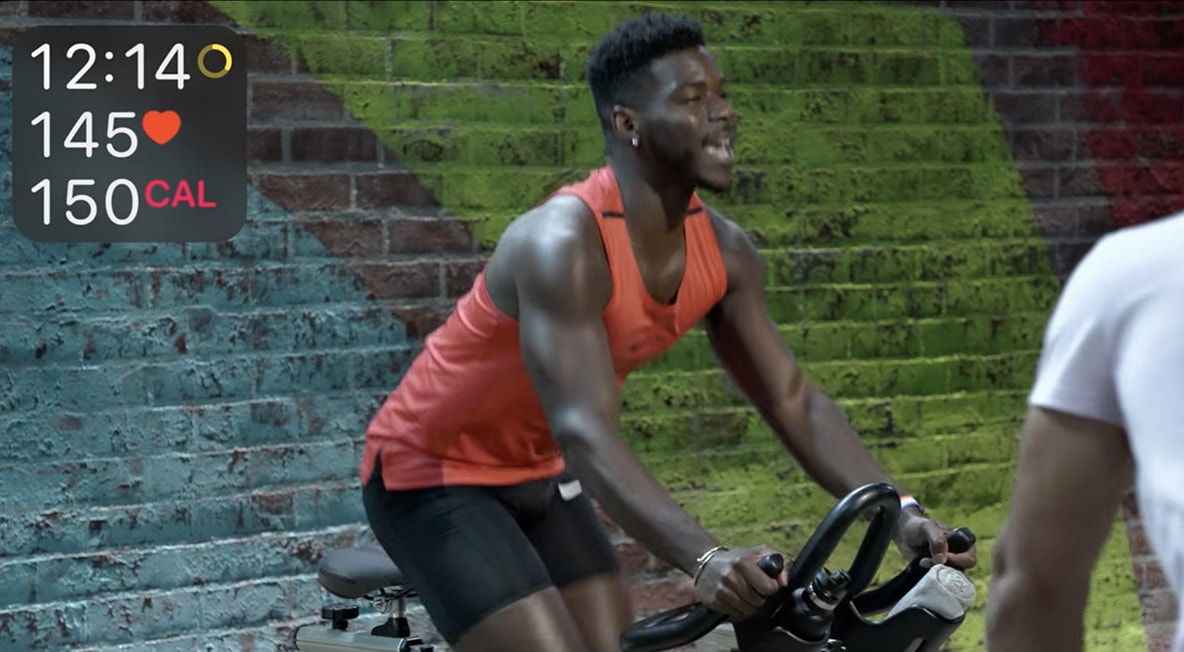 Tyrell put the pedal to the metal during an Apple Fitness+ cycling session.