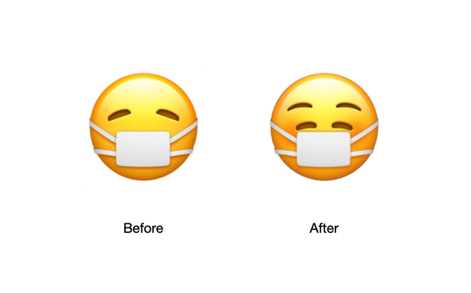 The mask-wearing emoji has a smile on its face. Apparently