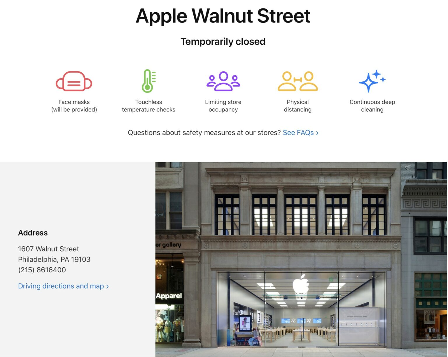 Apple Store temporarily closed.