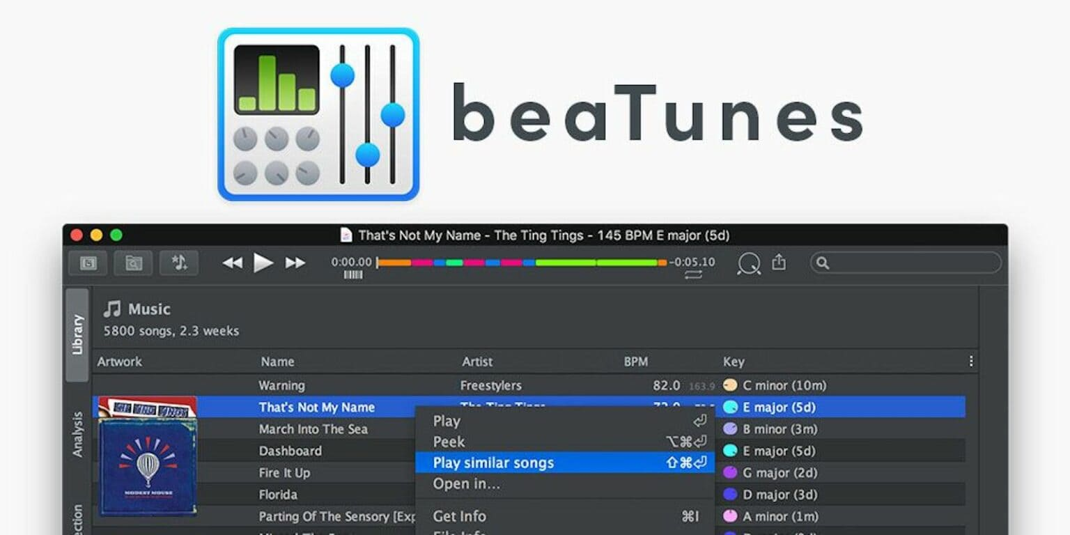 beaTunes music app: This Mac app analyzes your songs to create compelling playlists just for you.