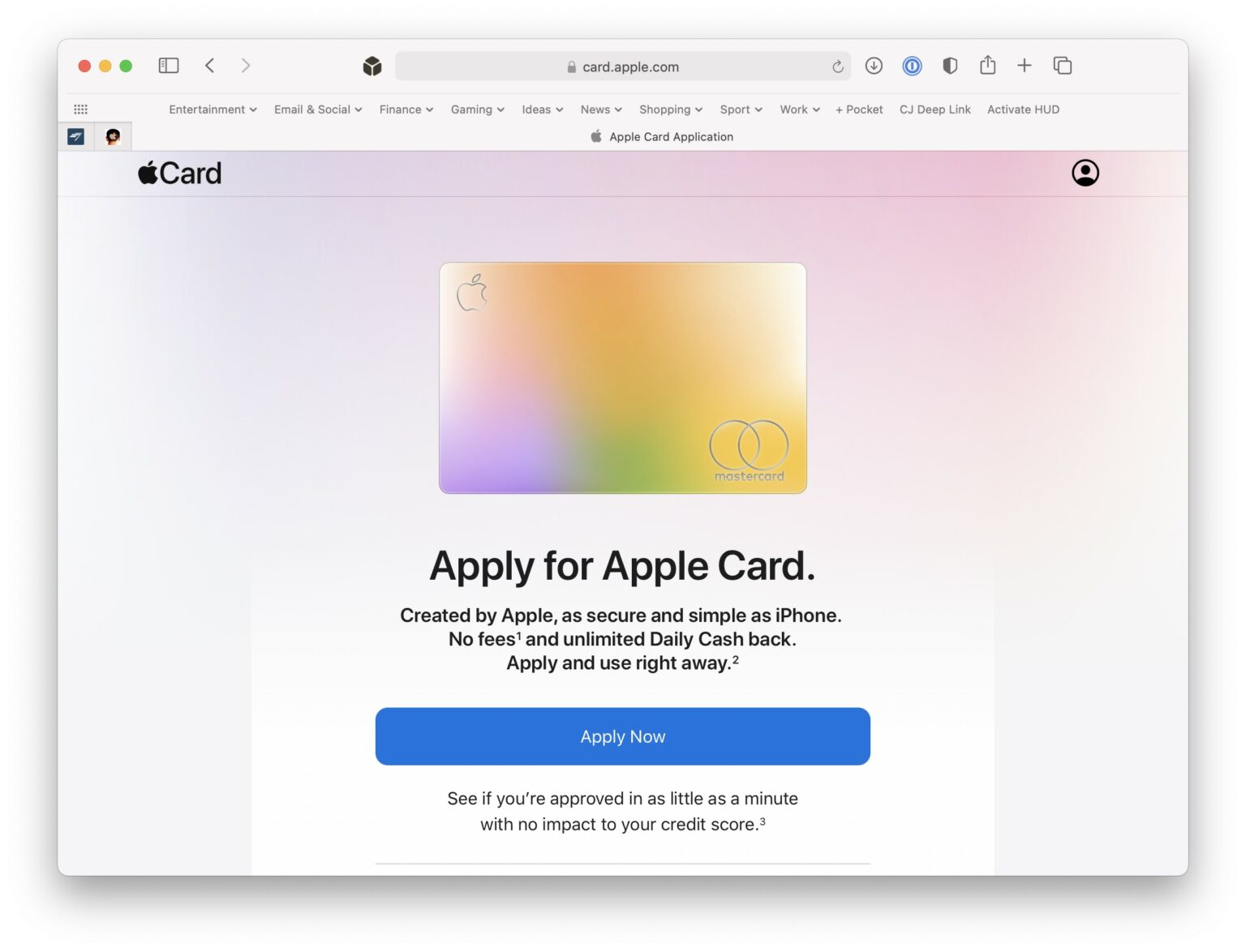 Apply for Apple Card online