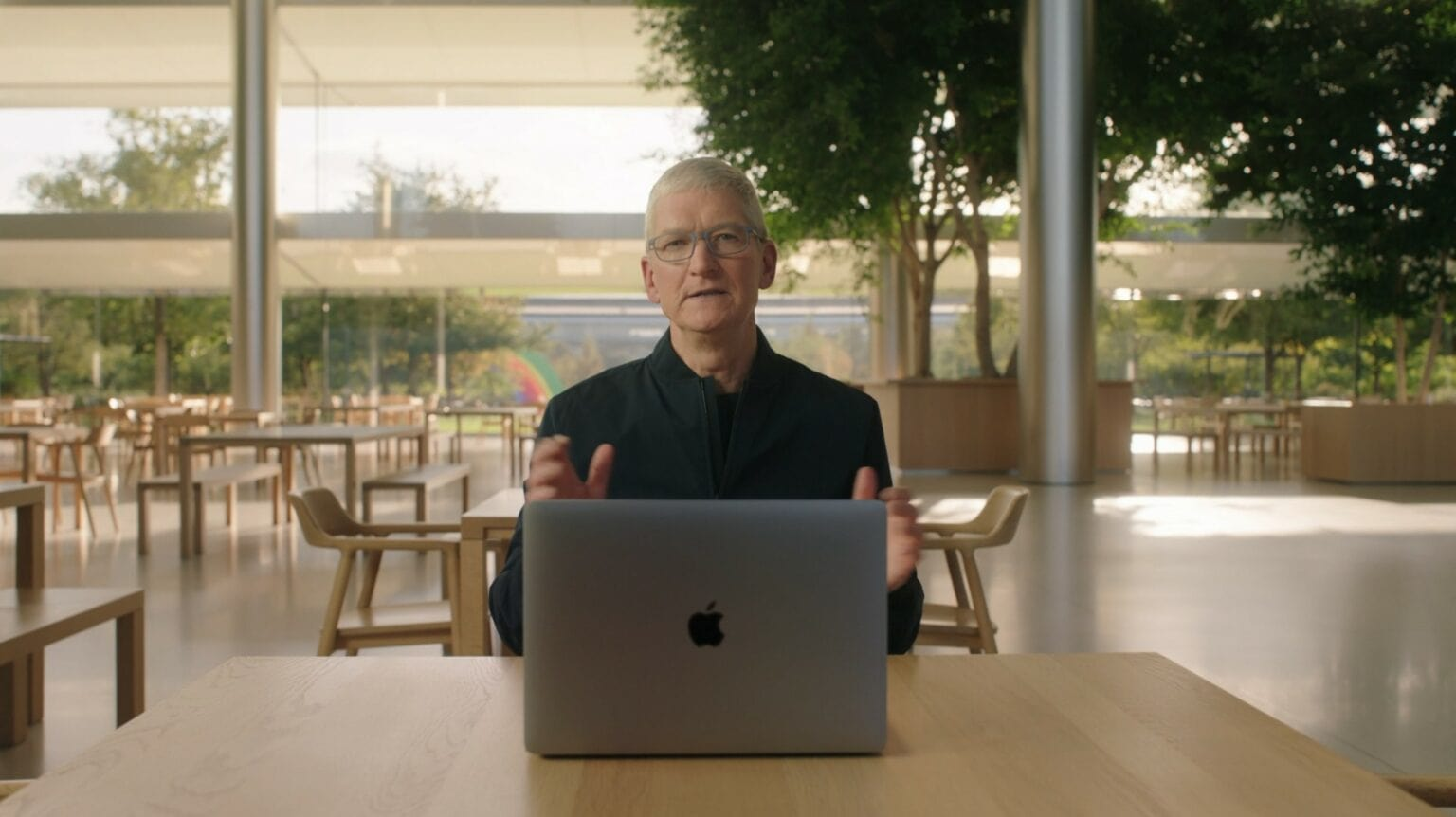 Tim Cook with MacBook at One More Thing event 2020