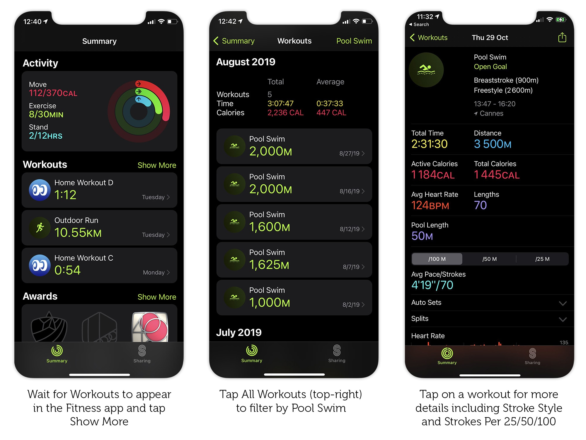 View details of your swim workout in the Fitness app