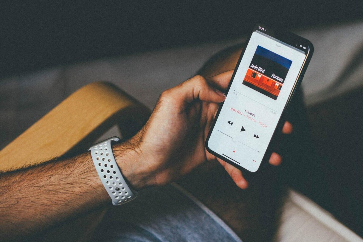 iPhone user on Apple Music