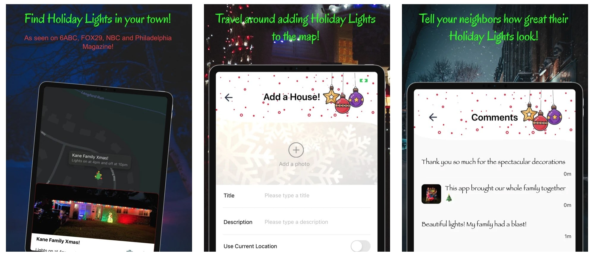 Christmasprism app for finding Christmas light shows and decorations