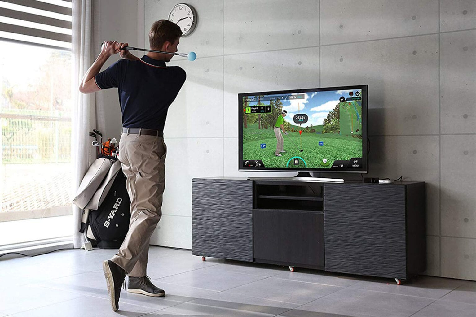 The PhiGolf- Mobile & Home Smart Golf Simulator with Swing Stick: This golf simulator is the perfect indoor activity for fans of the game.