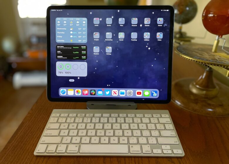 The Satechi Aluminum Desktop Stand pairs well with a full-size keyboard.