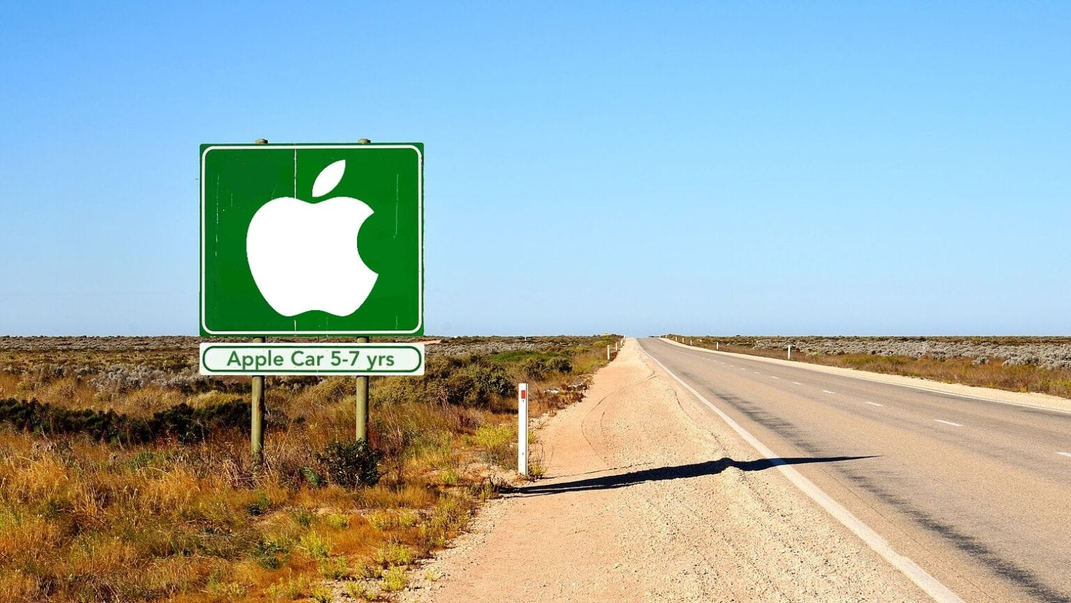 That's the signpost up ahead - your next stop, the Apple Car. The Apple Car is way down the highway. But Apple has the pedal to the metal.