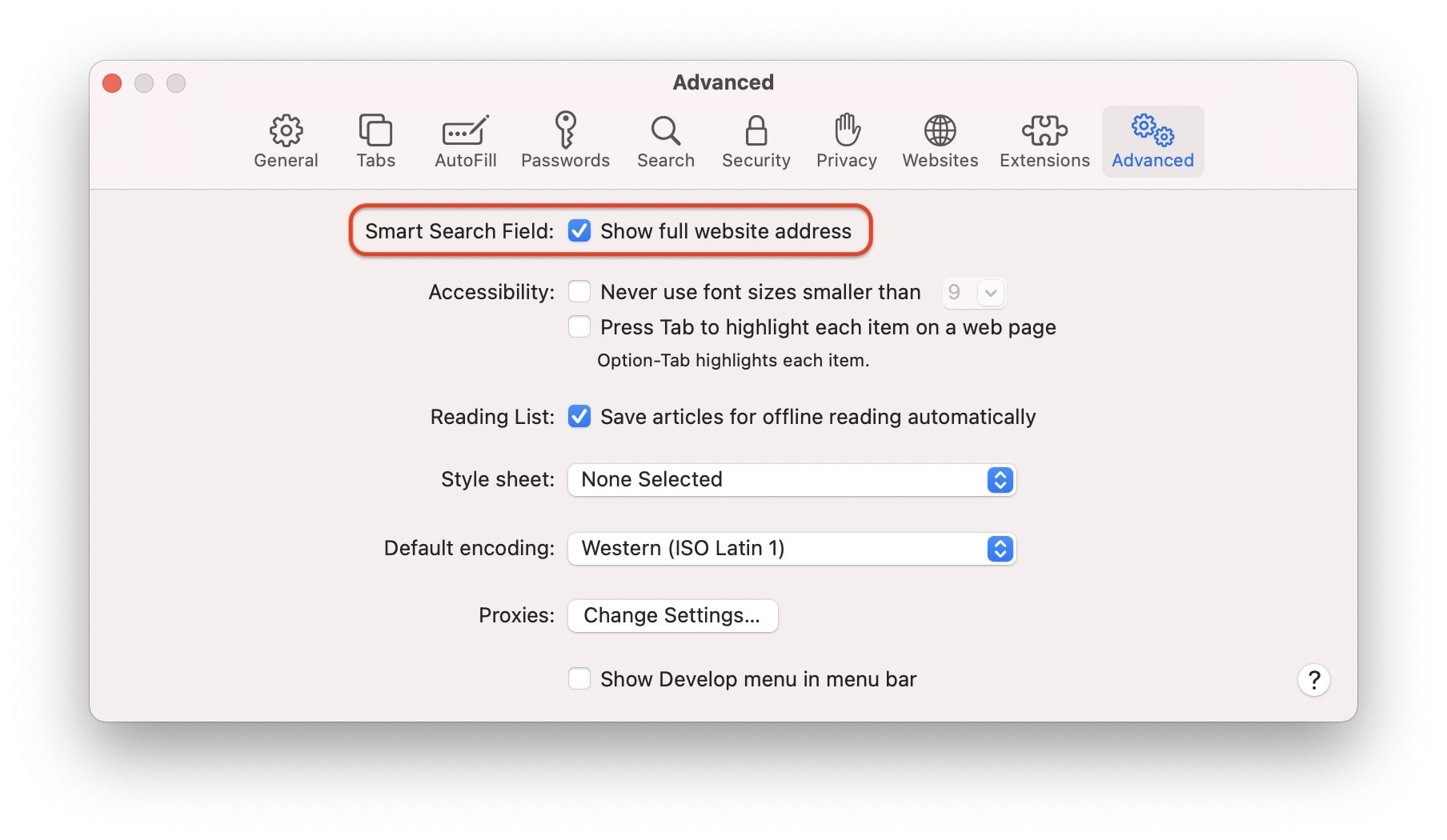 Show full URLs in Safari's address bar