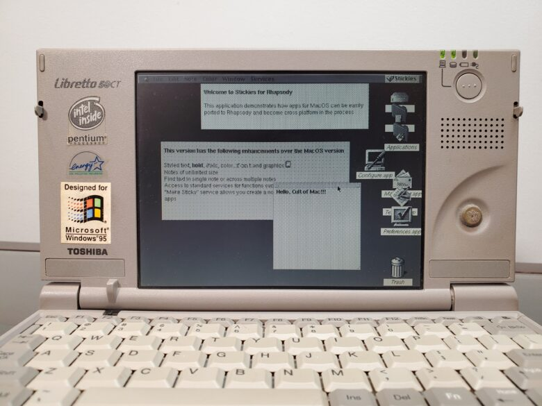 """""""Hello, Cult of Mac,"""" indeed. This Hackintosh is a Toshiba Libretto."""