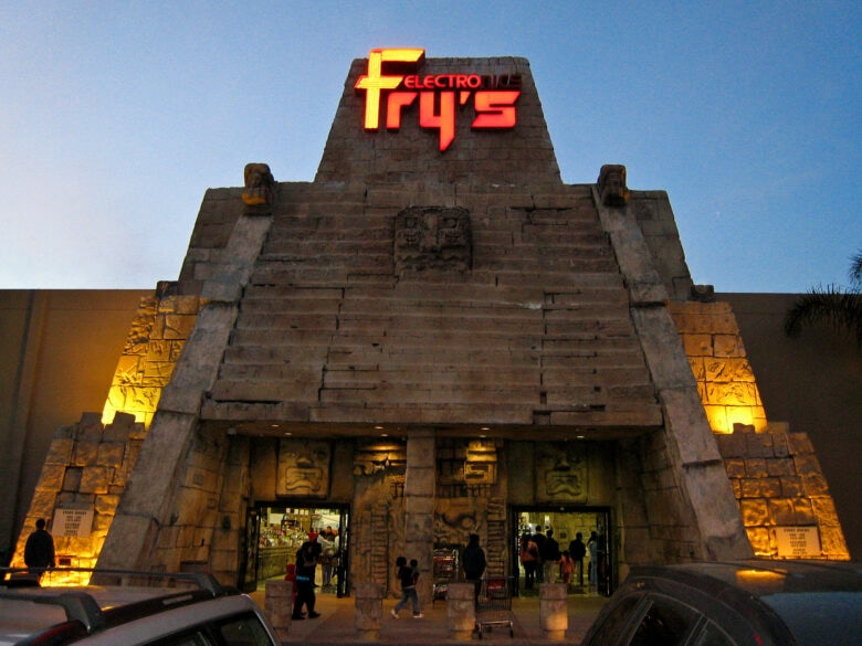 The Fry's Electronics in San Jose, California, caught shoppers' eye with its Mayan theme.