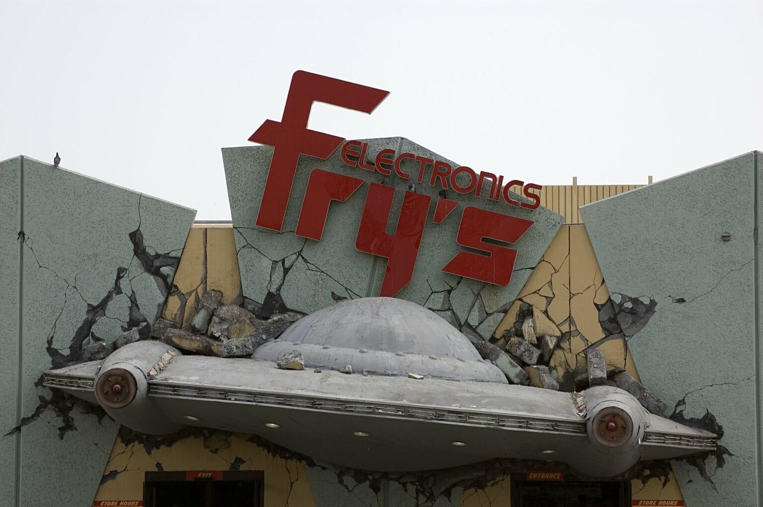 The Fry's Electronics in Burbank, California, had a retro alien invasion theme.