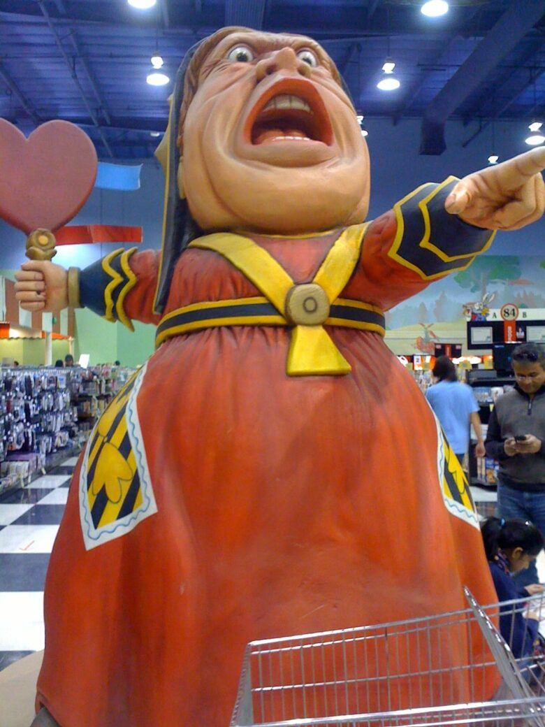 Fry's elaborate decorations infused each store with an individual personality. The theme in Woodland Hills, California, centered on Alice in Wonderland.