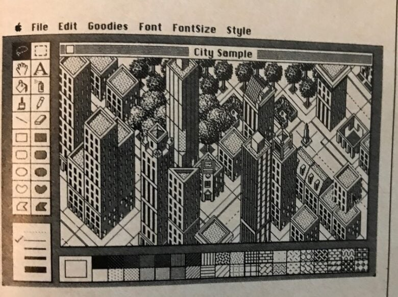 This image of the Macintosh Buyer's Guide inspired Pinot W. Ichwandardi's latest creation, a pixel art image of New York's Flatiron Building.