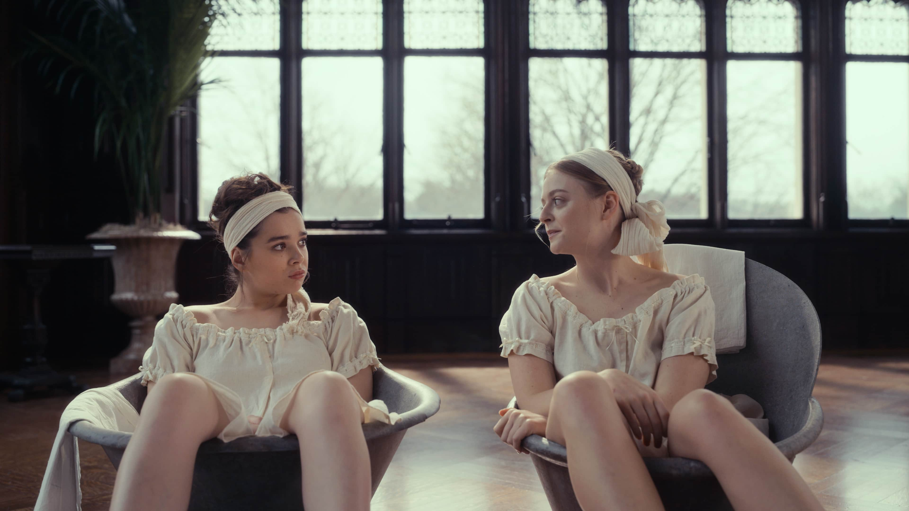 Emily (Hailee Steinfeld, left) and Lavinia (Anna Baryshnikov) try and fail to relax on this week's <em>Dickinson.</em>