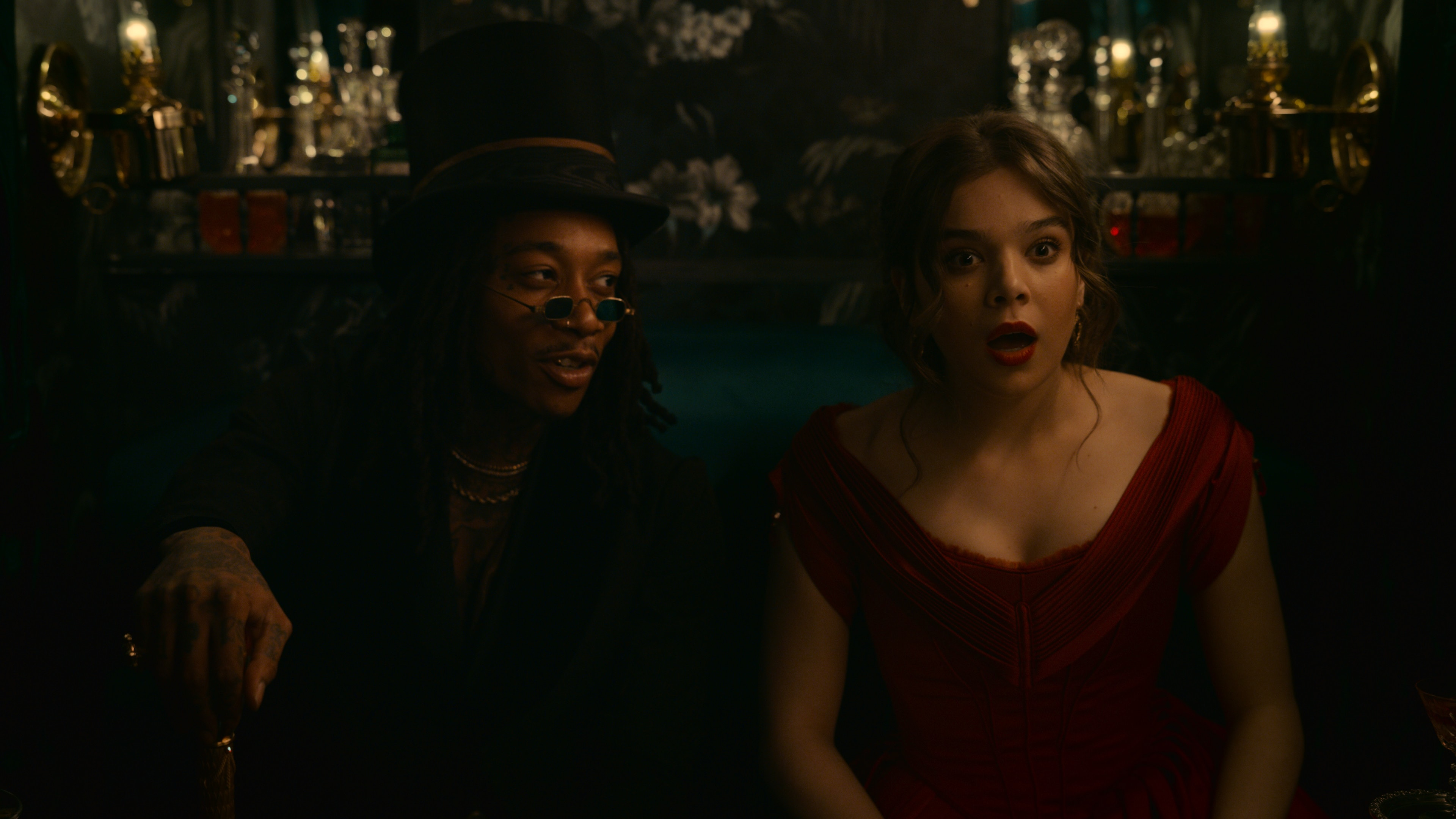 Death (played by Wiz Khalifa, left) is back to see Emily (Hailee Steinfeld) for some reason in Dickinson