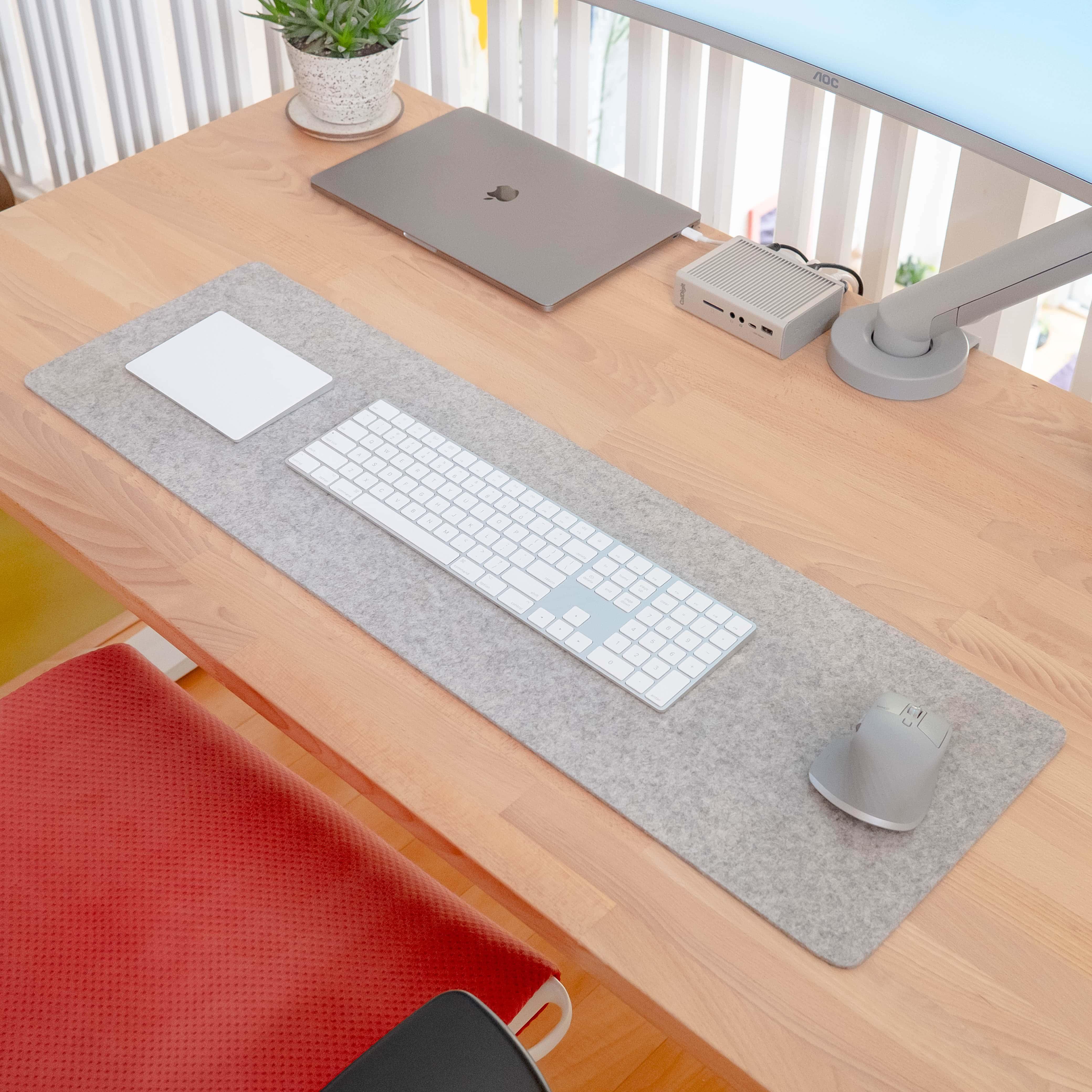 Venkatesan's homemade felt mat brings order and stability.