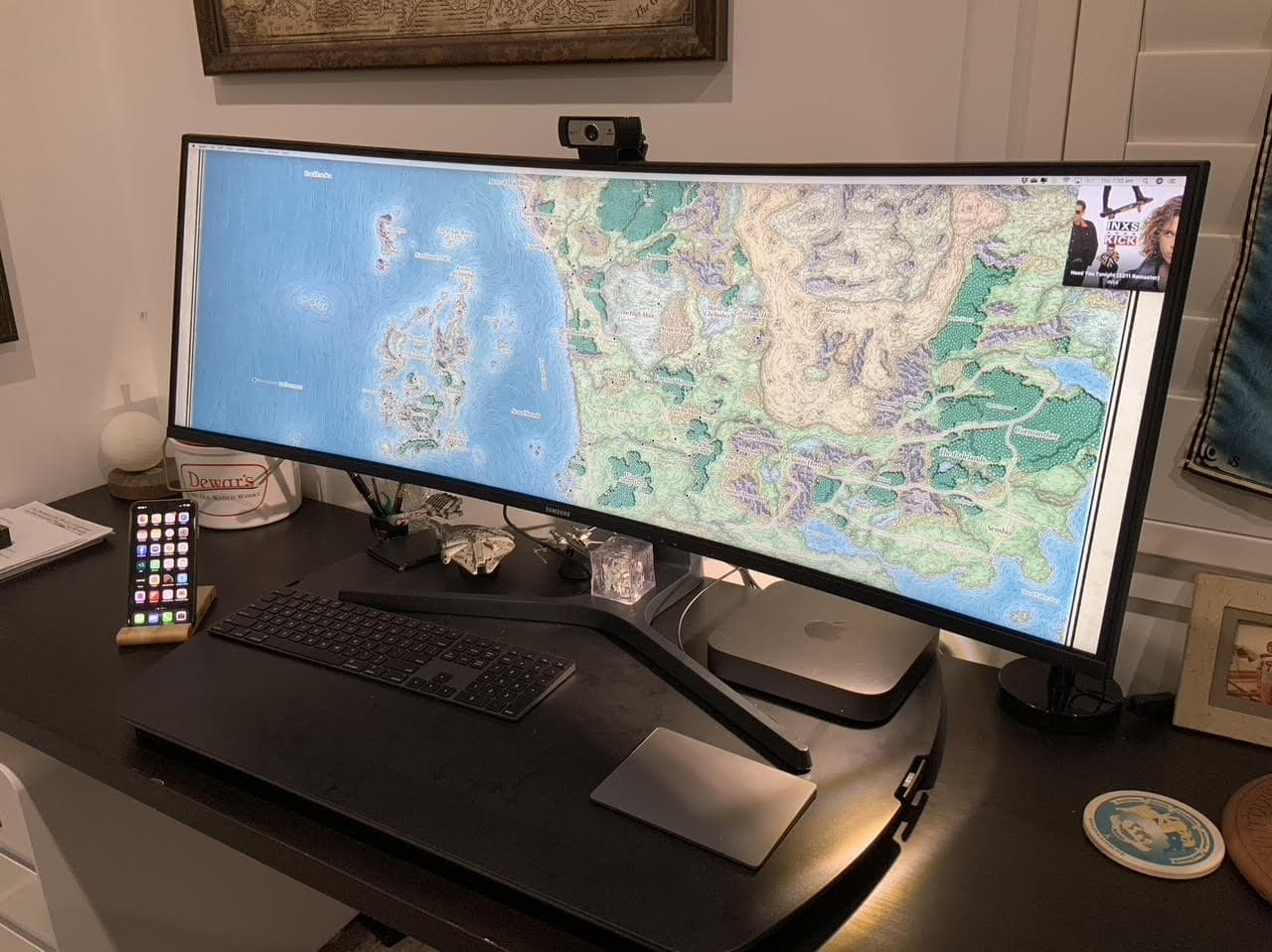 A 43-inch curved monitor is the highlight of Duncan Shultz's gaming setup.