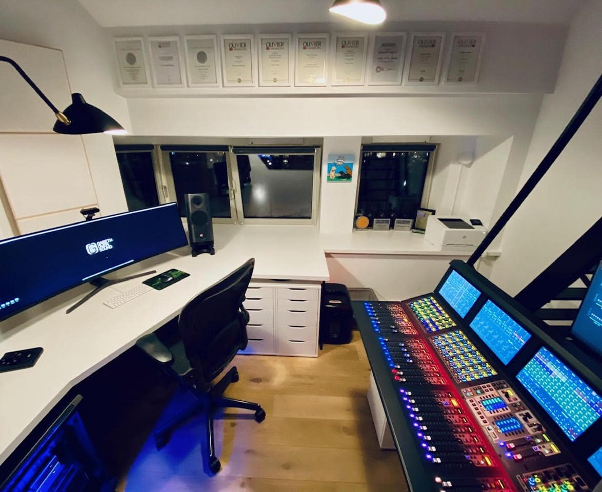 A wider shot shows Owen's Avid S6L mixing console at right.'s Avid S