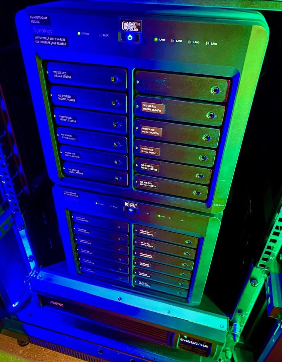 Copious amounts of data are stored and protected by an 8 TB Synology NAS DiskStation and an APC UPS battery backup and surge protector.