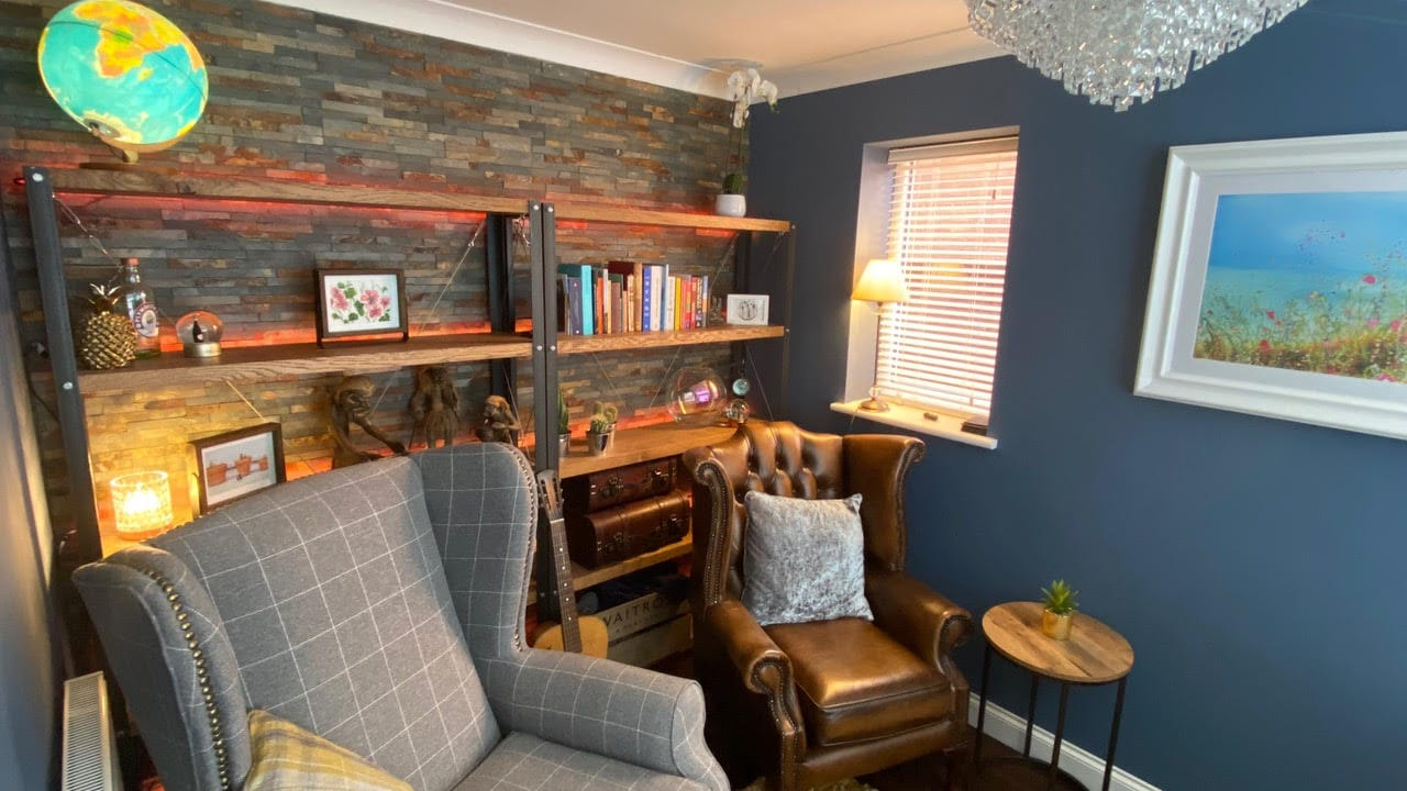 Paul O'Toole converted his garage into both and office and sitting room.