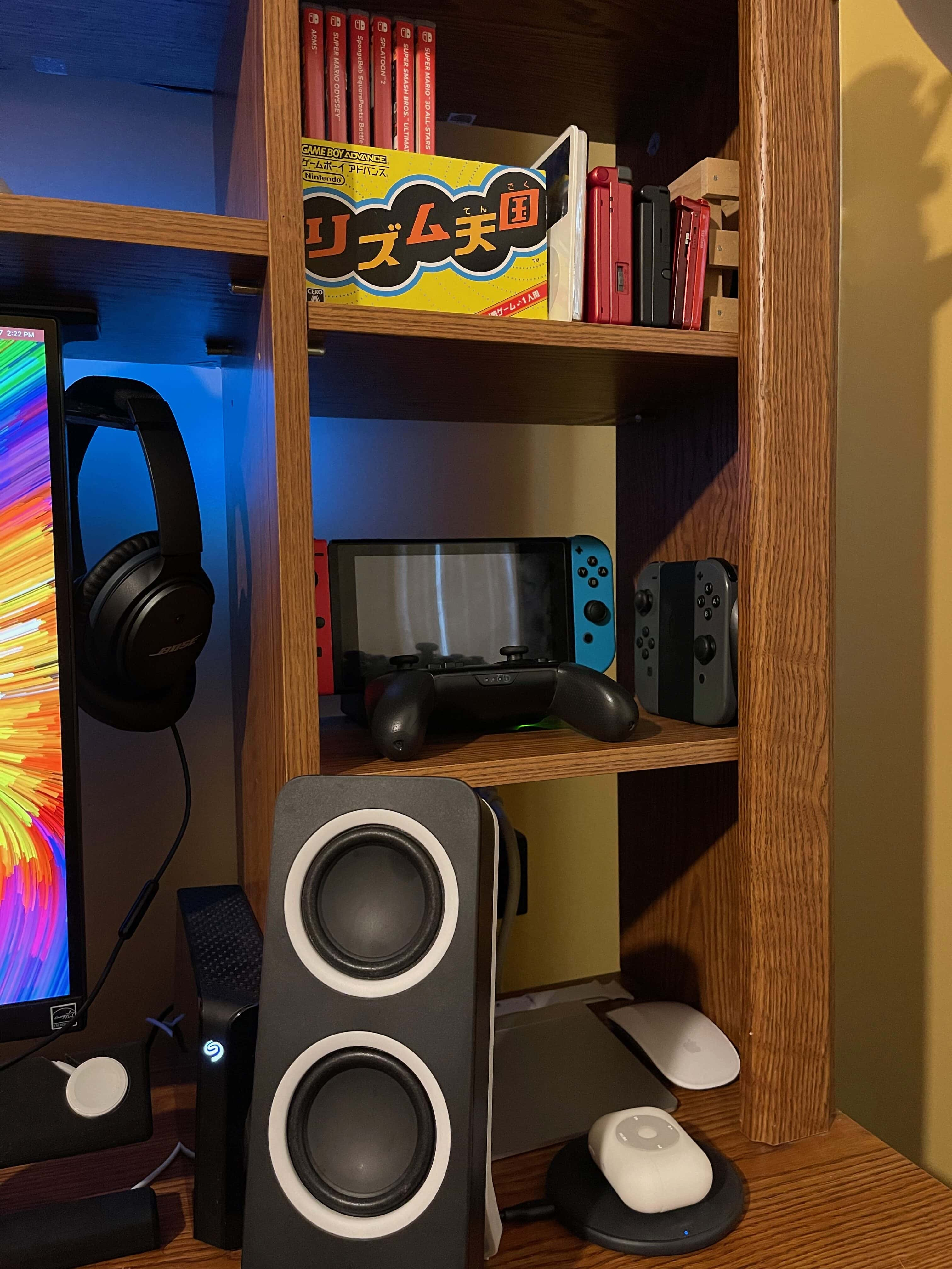 The second shelf up is like a shrine to Nintendo.