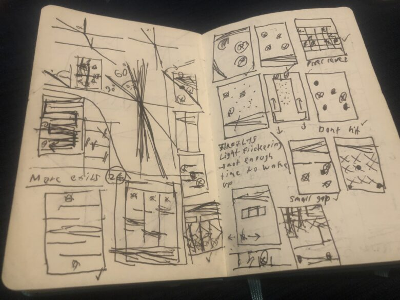 A look into one of the many sketchbook pages that resulted in Lyxo.