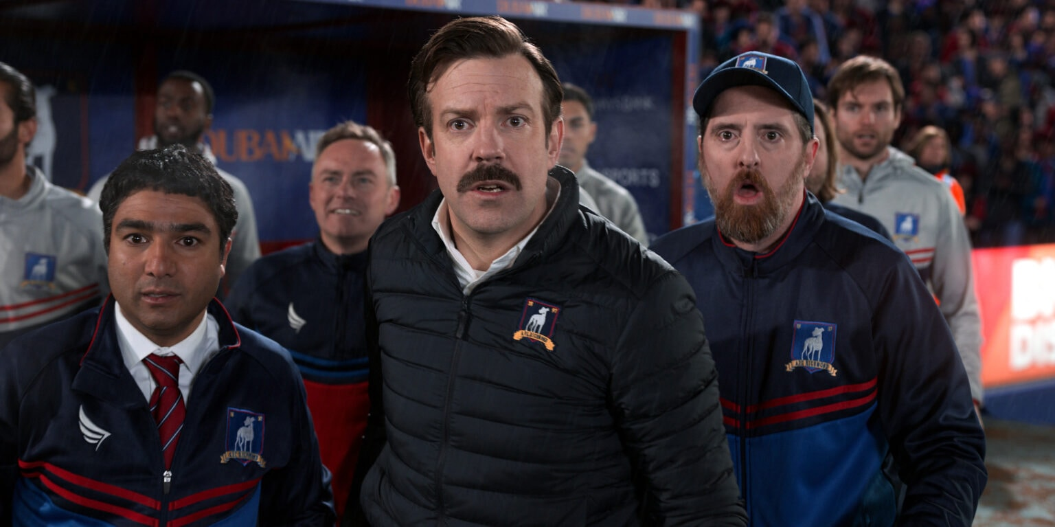 Jason Sudeikis plays a clueless college football coach in the comedy series.