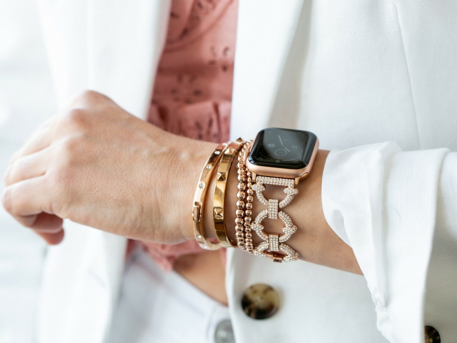 Giveaway: Goldenerre crystal pavé Apple Watch link band: This is your chance to win a gorgeous Apple Watch band and a coordinating stacking band.