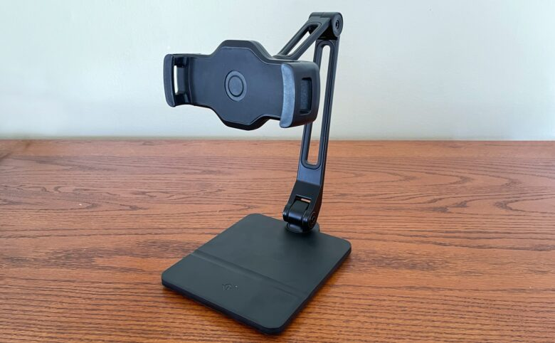 The Twelve South HoverBar Duo mimics the shape of the human arm, with the tablet held in a secure clip.