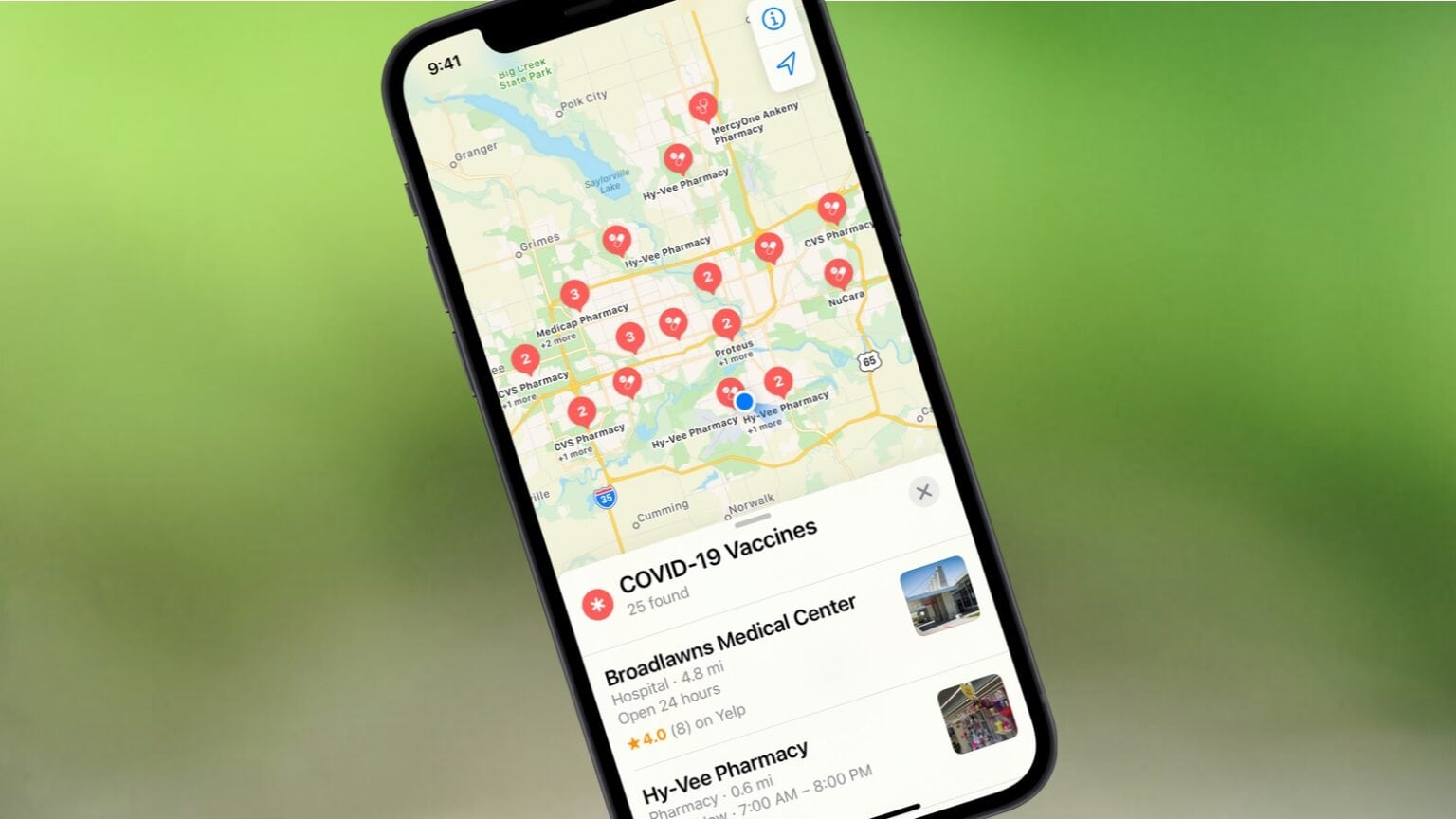 Apple Maps now shows COVID-19 vaccine locations.