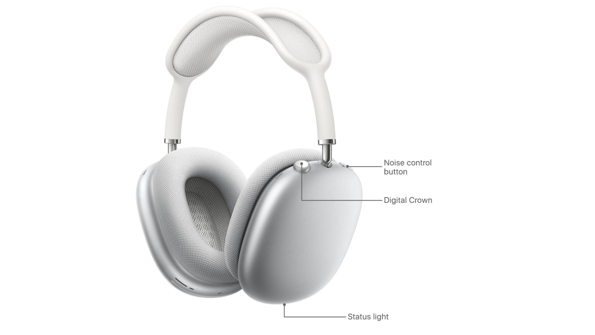 Cách đặt lại AirPods Max: Nhấn và giữ nút Digital Crown và nút điều khiển tiếng ồn