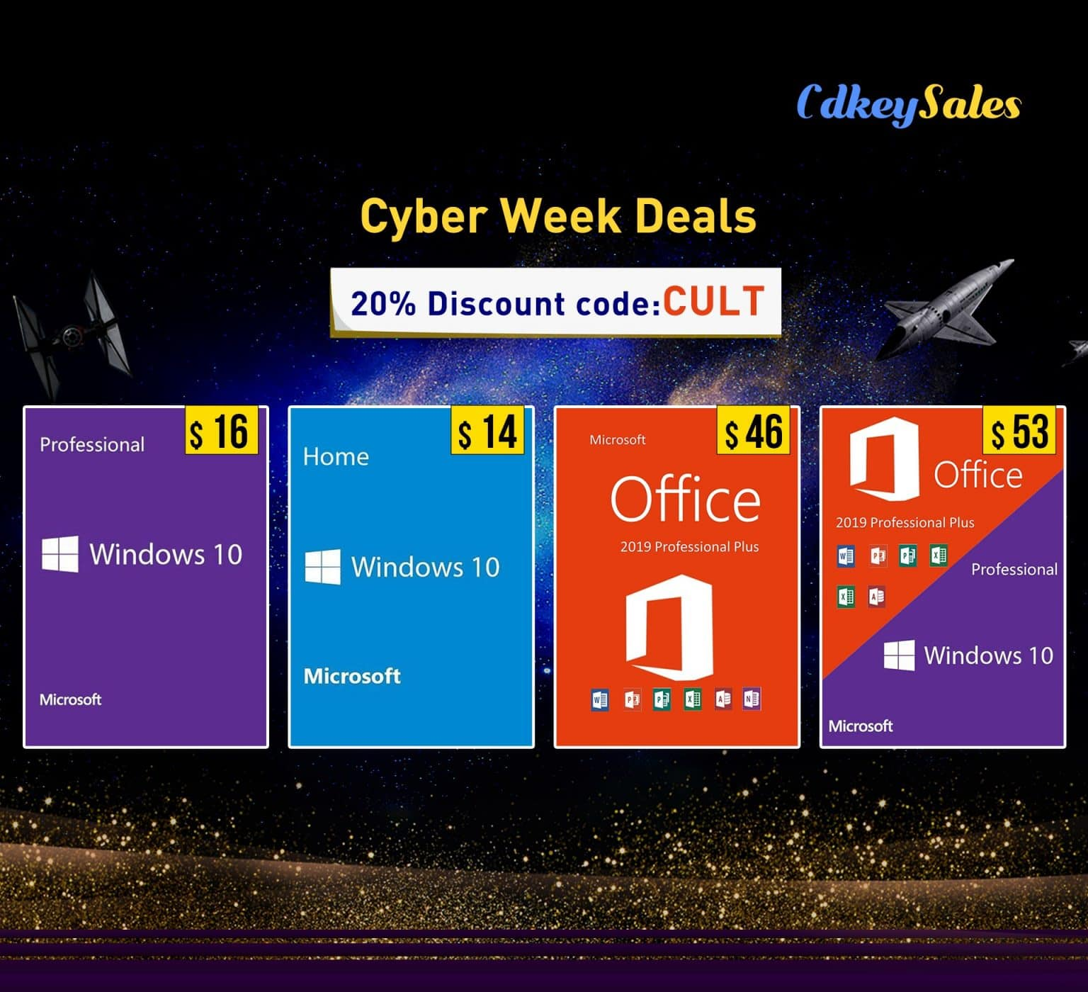 CdkeySales.com offers a 20% discount on Microsoft Windows and Office software activation keys.