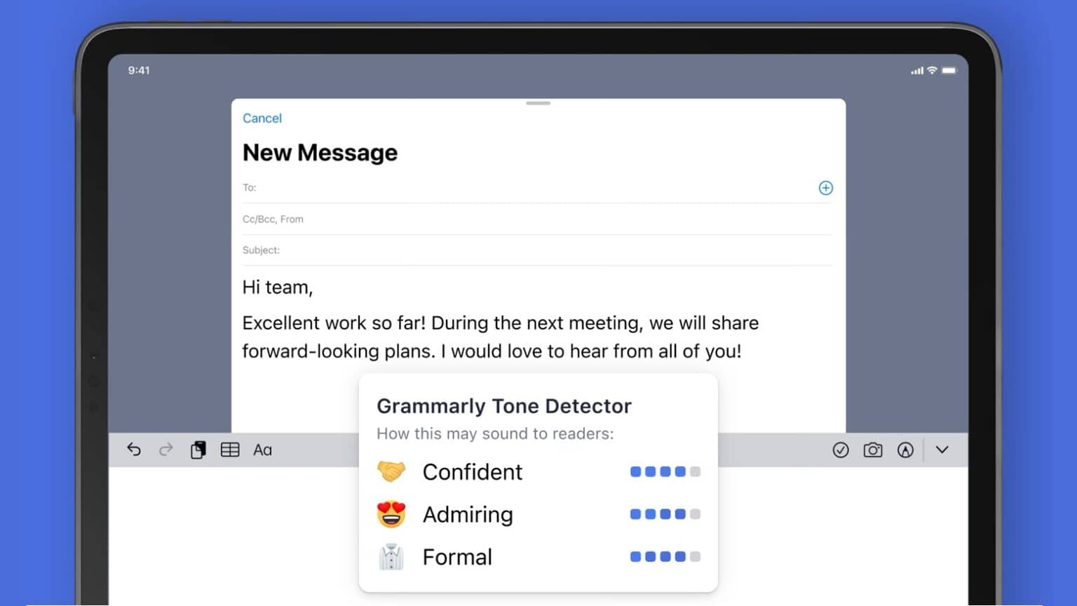 Grammarly tone detector is now available for iPhone or iPad