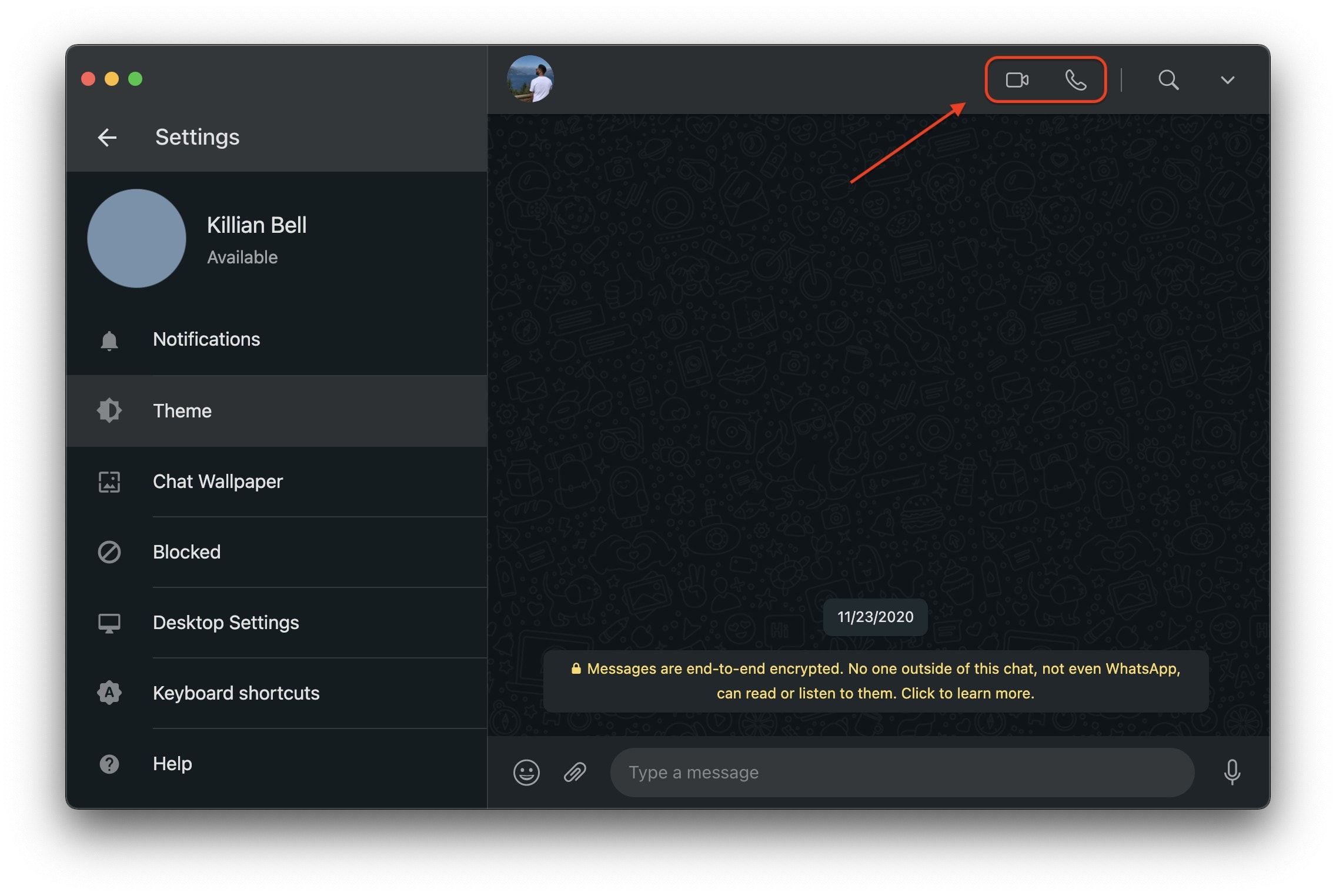 WhatsApp voice and video calls on Mac