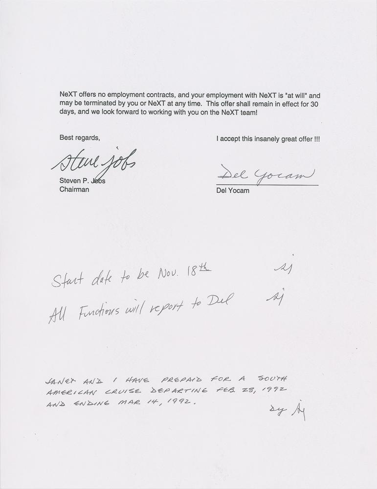 Del Yocam's offer letter to join NeXT