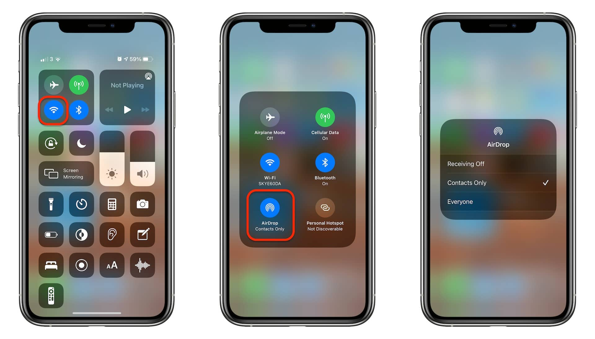 Control AirDrop in Control Center