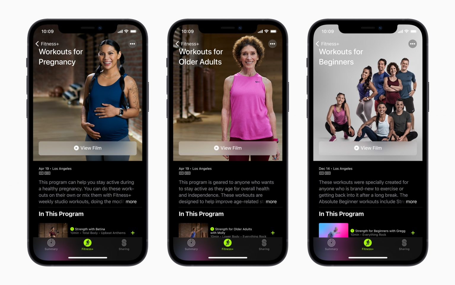 Apple Fitness+ is adding several new workout categories on April 19: Workouts for Pregnancy, Workouts for Older Adults, and Workouts for Beginners.