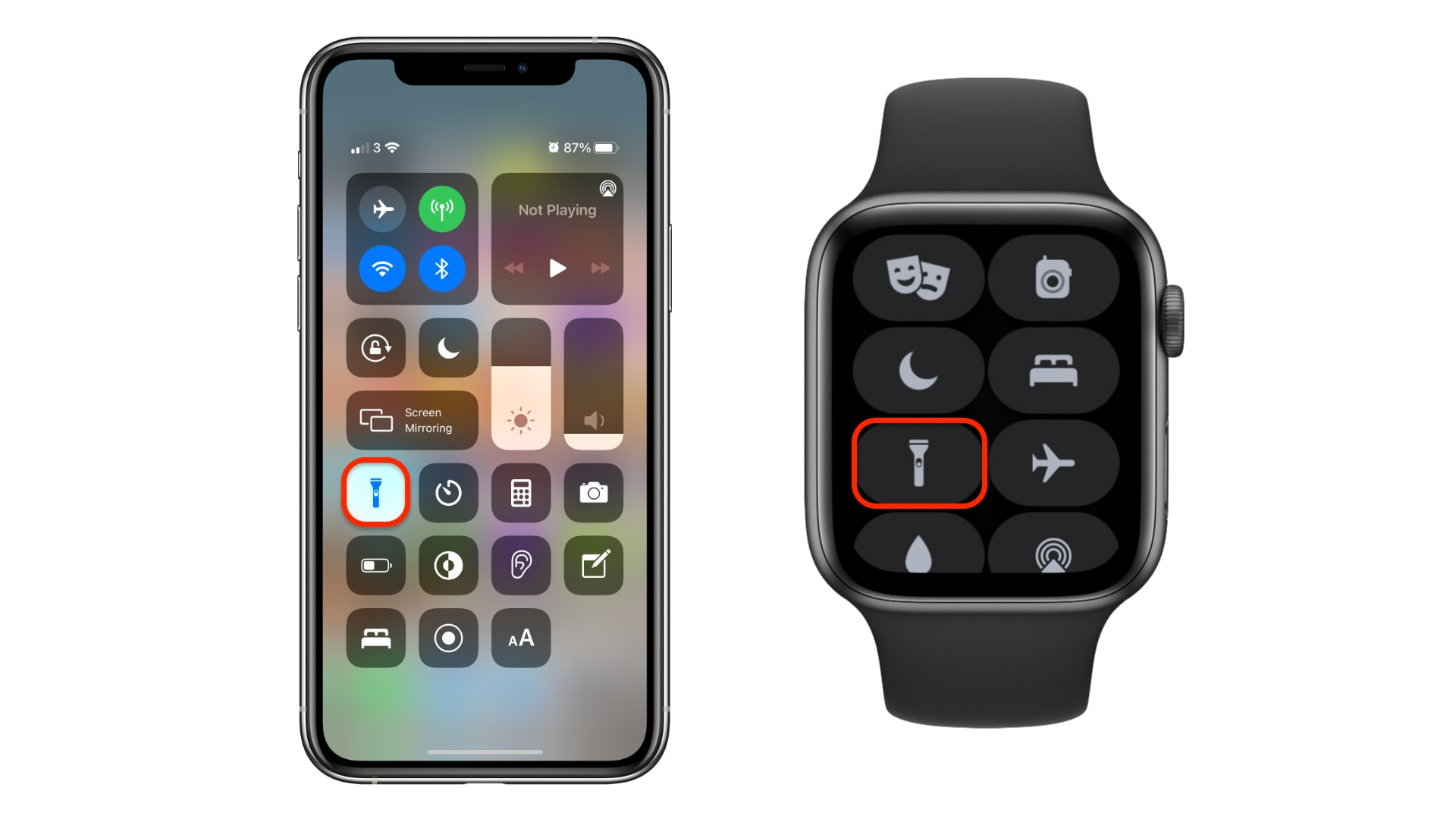 Enable your flashlight inside Control Center