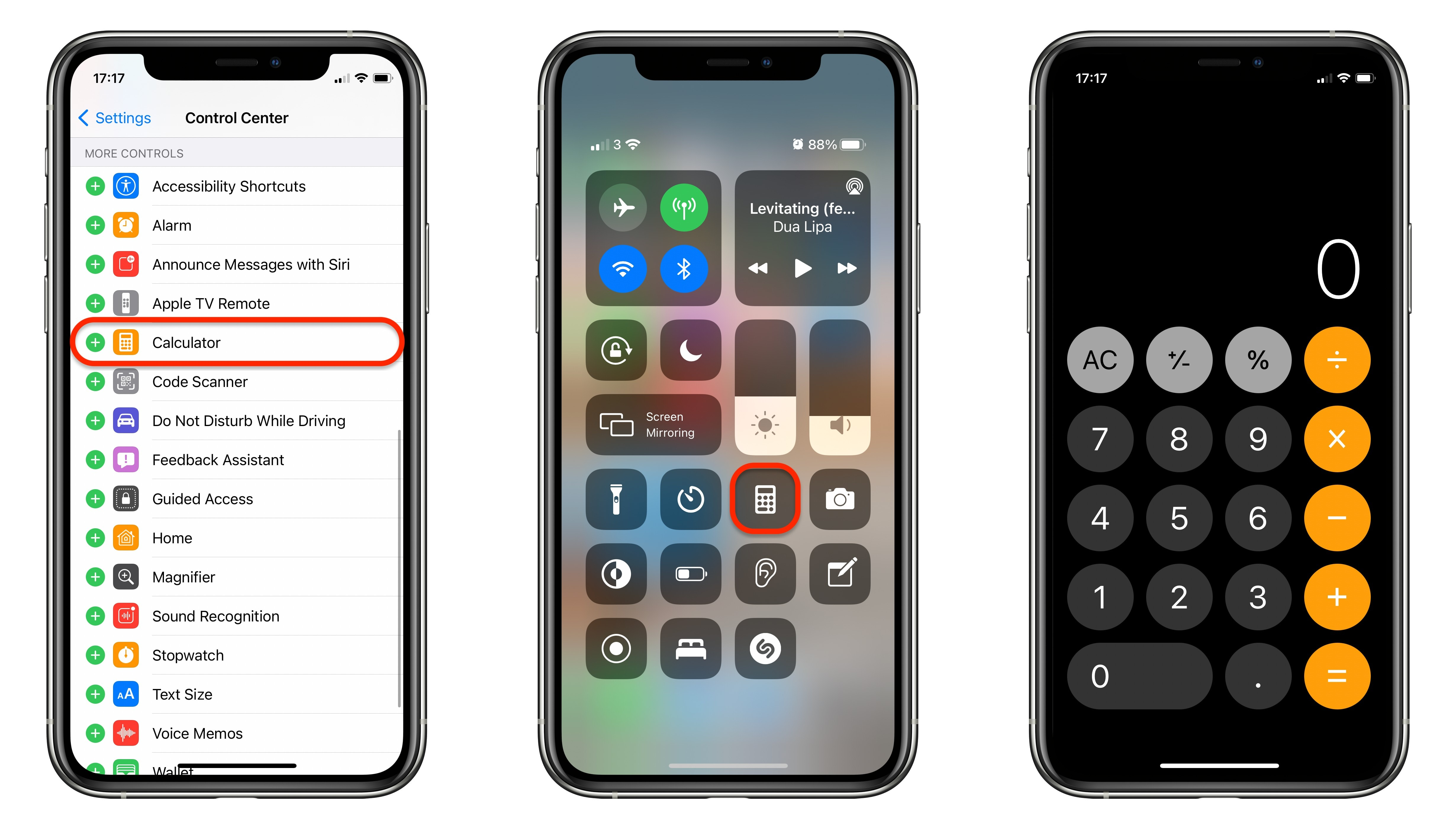 Add the Calculator app to Control Center