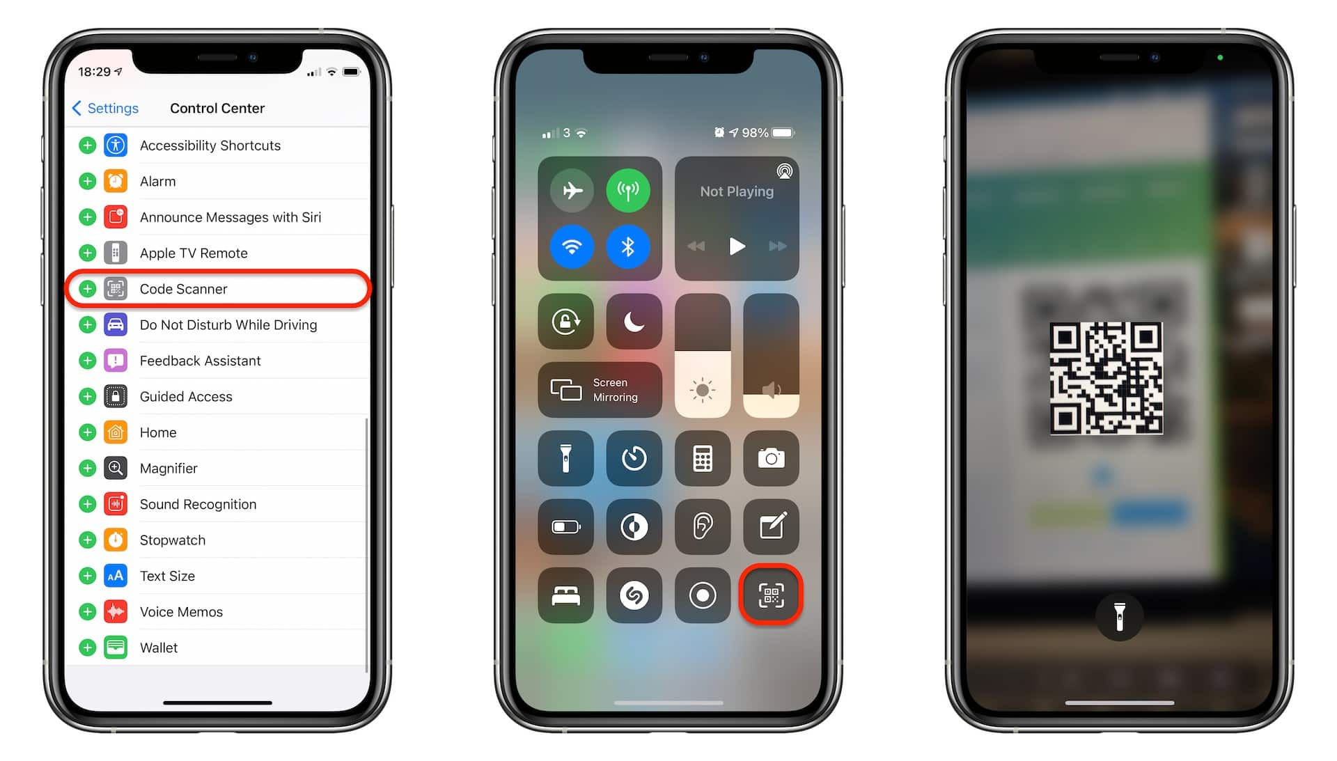 Add a QR code scanner to Control Center
