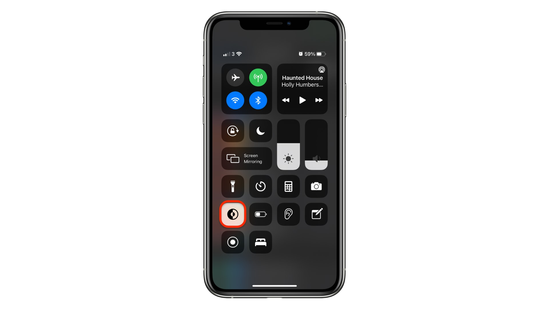 Dark Mode toggle in Control Center on iPhone