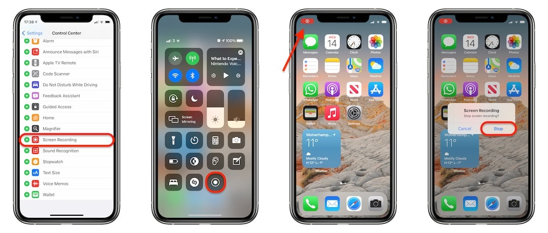 How to start screen recording from Control Center