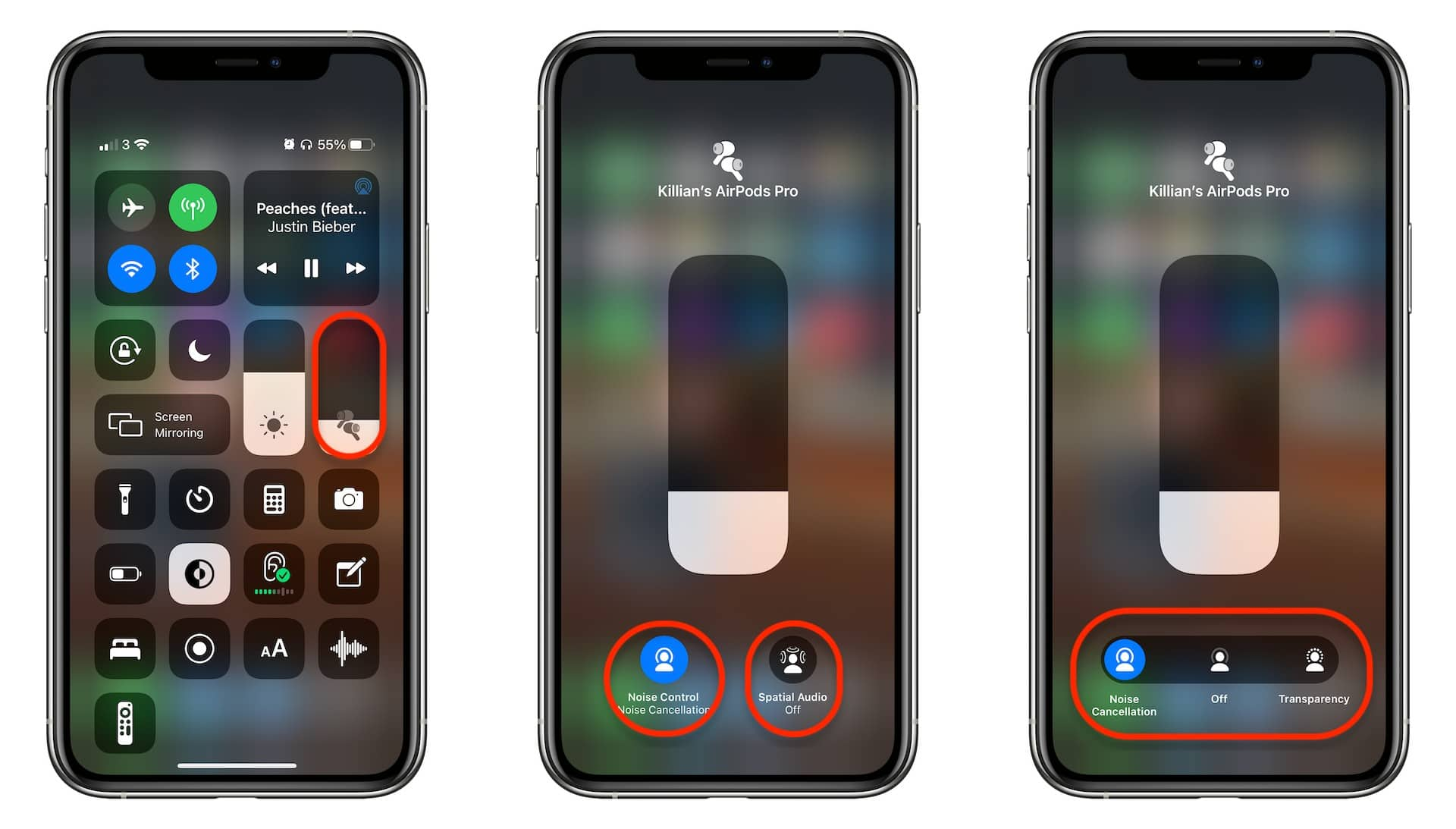 Switch AirPods audio modes in Control Center