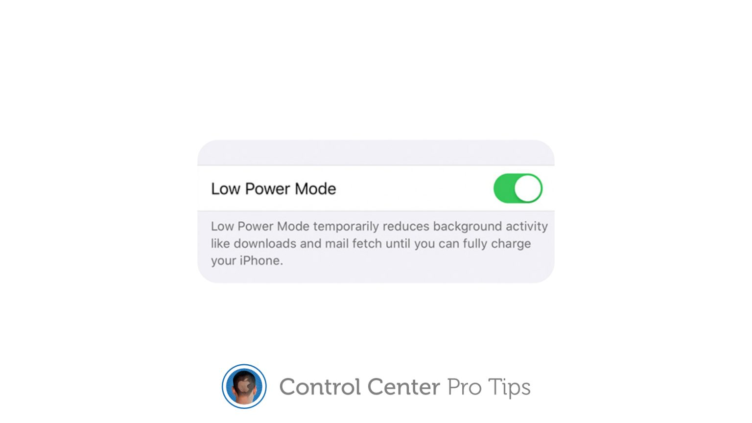Activate Low Power Mode in Control Center