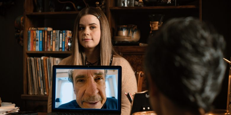 Jo (Jessie Ennis, top) and C.W. (F. Murray Abraham, on screen) keep things interesting.