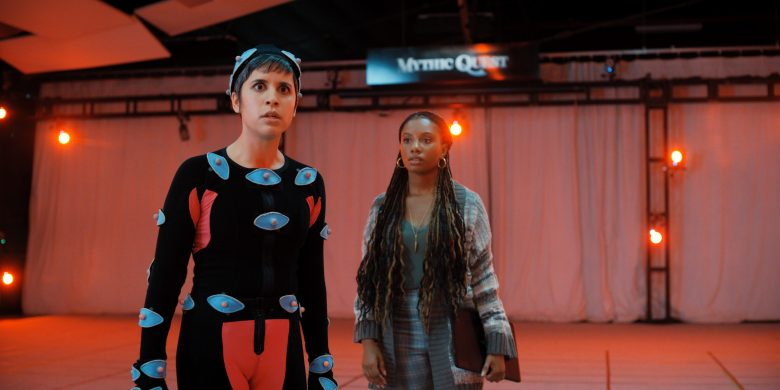 Rachel (Ashly Burch, left) and Dana (Imani Hakim) get it together in Mythic Quest season 2.
