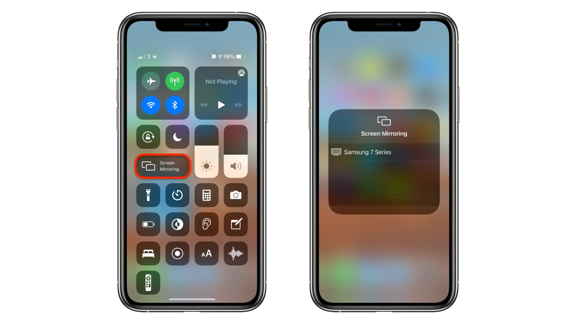 How to start screen mirroring with Control Center